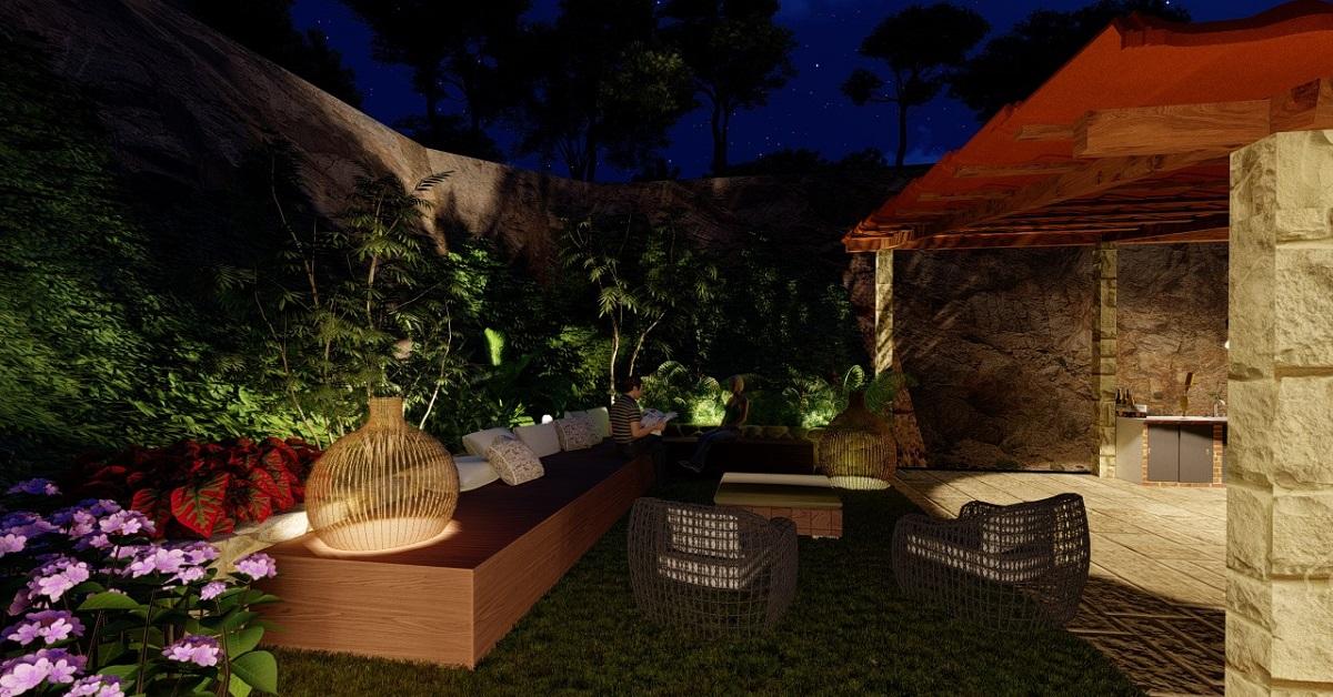 Modelação 3D de Jardim à noite